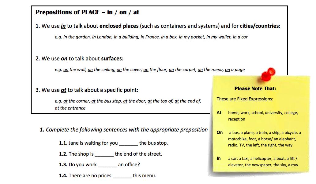 prepositions | The English Affair